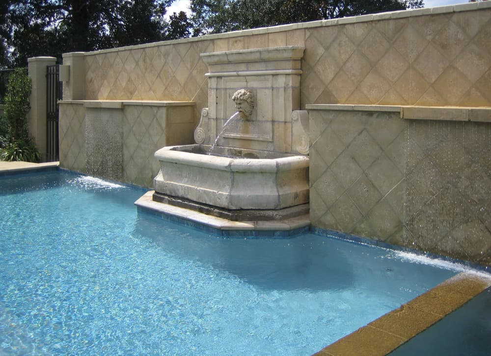 Peacock Pavers buff pool wall