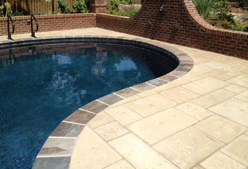 Peacock Paver Champagne Pool with brick trim