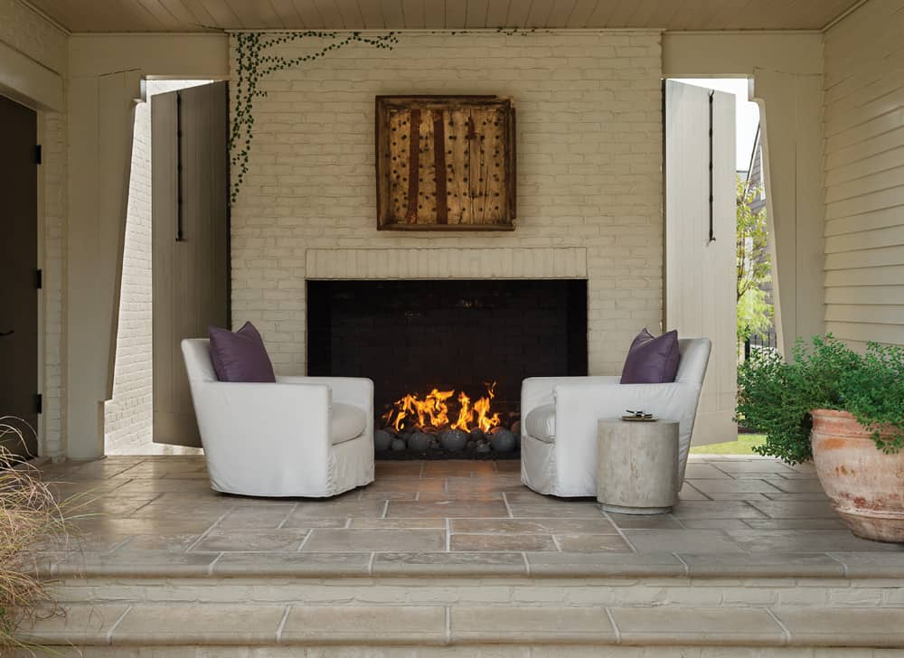 Peacock Pavers Buff Outdoor Fireplace