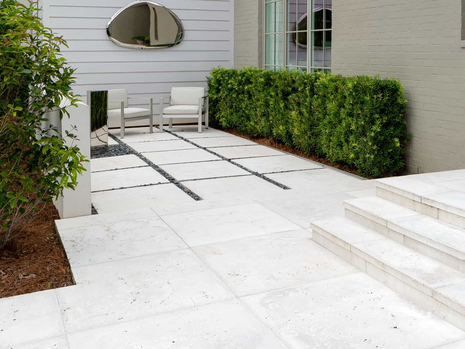 Concrete pavers with gravel joints