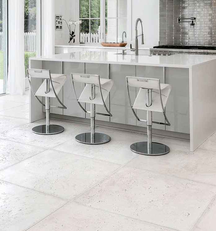 Large concrete pavers in modern kitchen