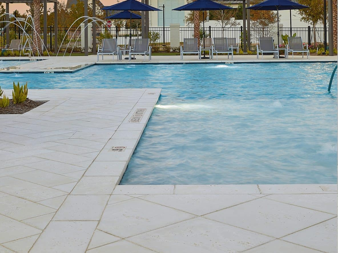 Pool Tiles Rice White Peak